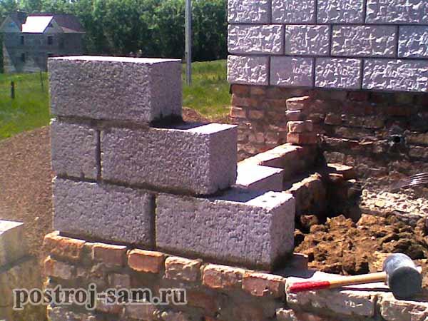 кладка угла стен из керамзитобетонных блоков
